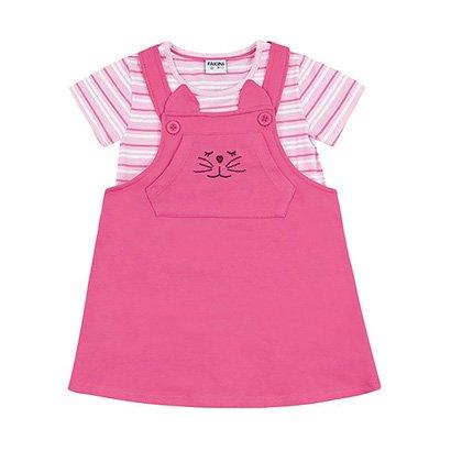Salopete Infantil Fakini Com Blusa Estampa Listrada Feminino