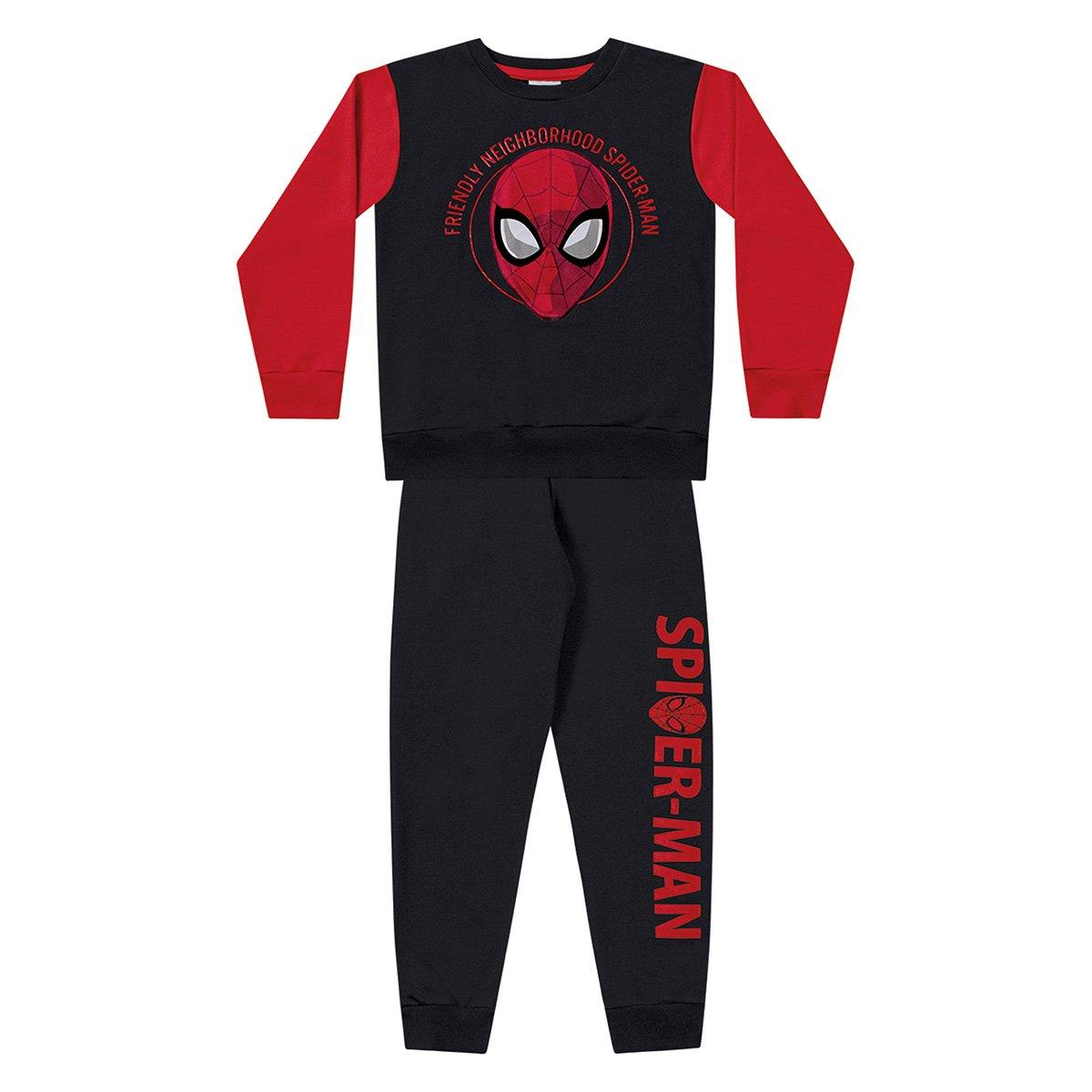 Conjunto Infantil Fakini Longo Moletom Spider Man Masculino