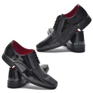 80f685ce8 Kit 2 Sapato Social Garra Verniz Confort Masculino