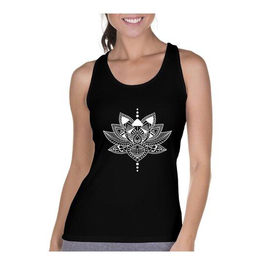 Camiseta Regata Criativa Urbana Cavada Flor de Lótus - Preto ... 1664f5001dc