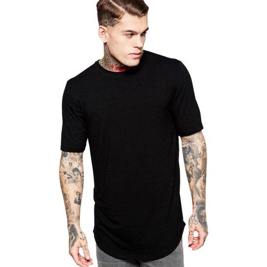 d972b0daa8c5b Camiseta Criativa Urbana Long Line Oversized Lisa - Preto - Compre ...