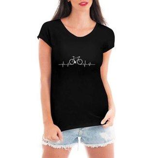 76d2d5200 Camiseta Criativa Urbana Bicicleta Ciclismo Pulsação Feminina