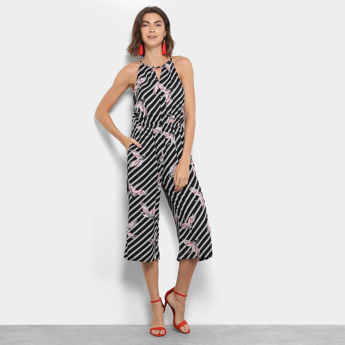 508d68881 Macacão Pantacourt Lily Fashion Listrado Pássaro Feminino