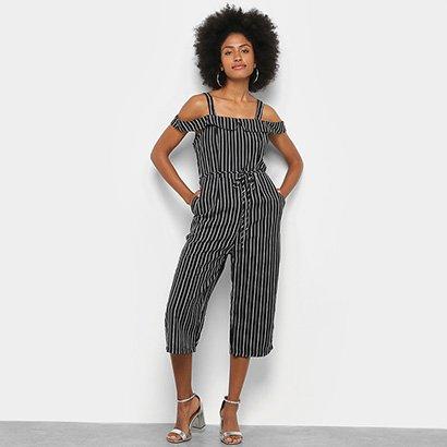 Macacão Lily Fashion Pantacourt Listrado Feminino