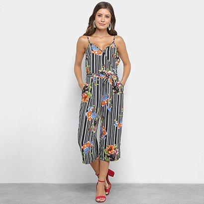 Macação Lily Fashion Pantacourt Com Amarração Floral Feminino