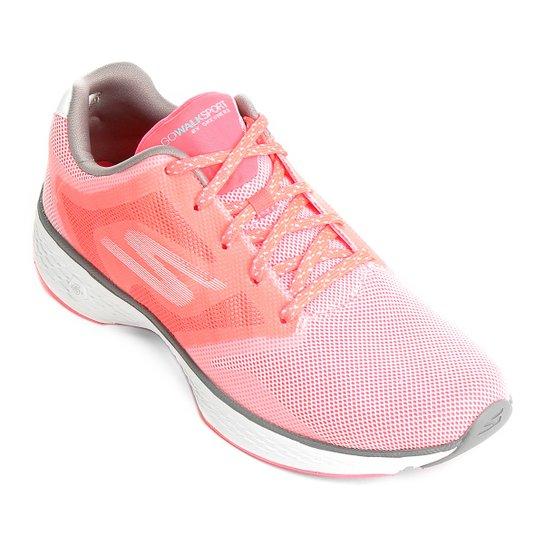 07a1ce27d Tênis Skechers Go Walk Sport Feminino - Rosa e Branco
