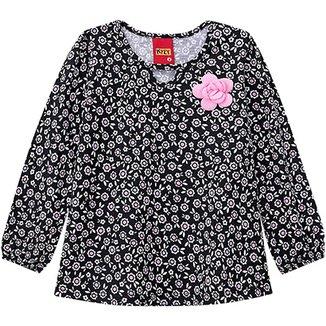 Blusa Infantil Kyly Manga Longa Floral Feminina 717462d6127