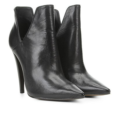 Ankle Boot Couro Carrano Salto Alto Cut Out Feminina