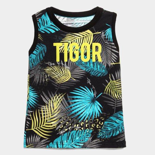 3ca7e2ea1 Camiseta Regata Infantil Tigor T. Tigre Estampa 3D Masculina - Preto+Azul  Turquesa