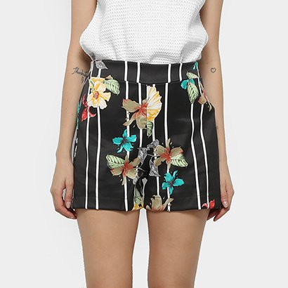 Shorts Mercatto Hot Pants Listrado Floral Feminino