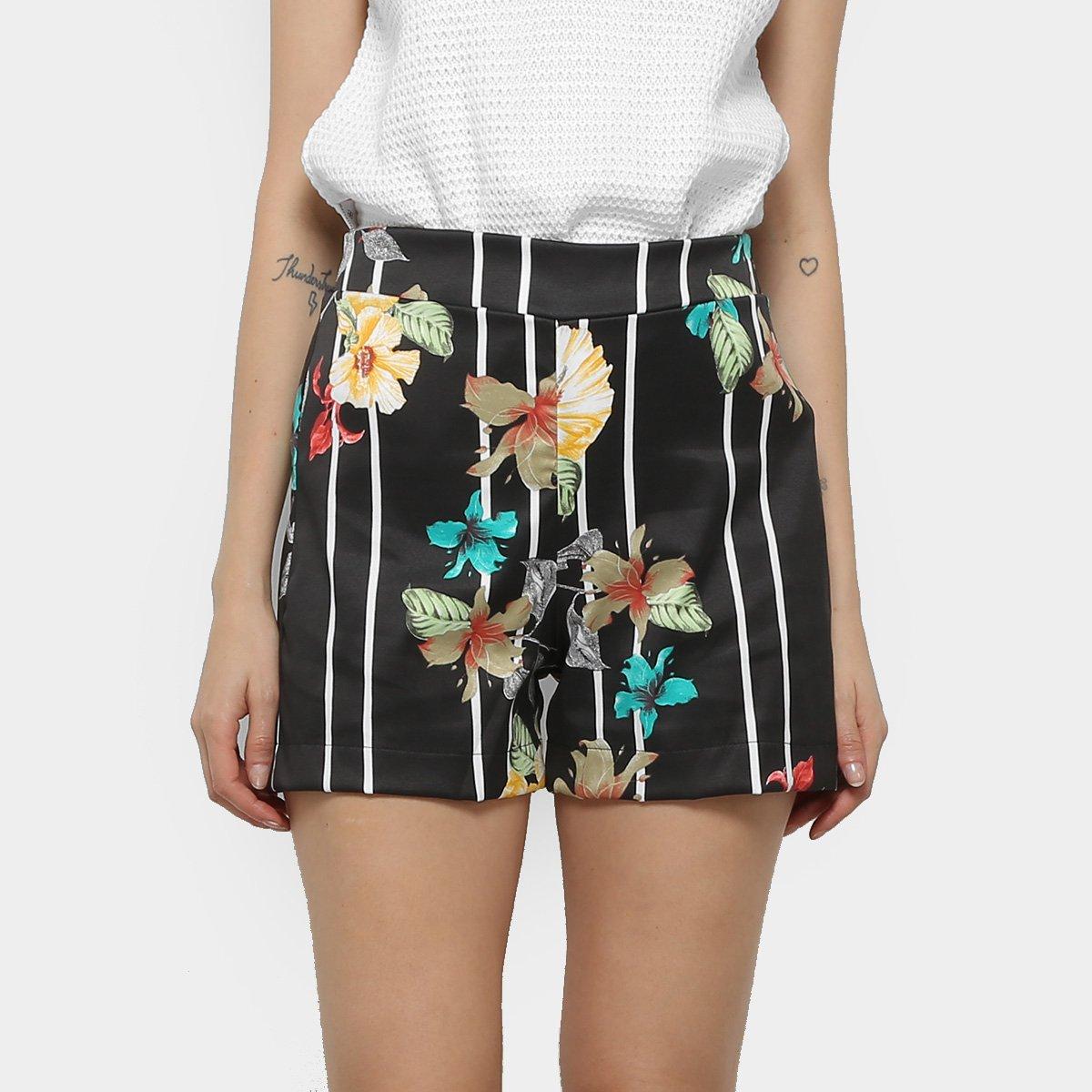 Foto 1 - Shorts Mercatto Hot Pants Listrado Floral Feminino