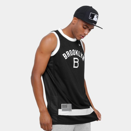 81a44f74c Camiseta Regata New Era MLB Basketball Brooklyn Dodgers - Preto ...