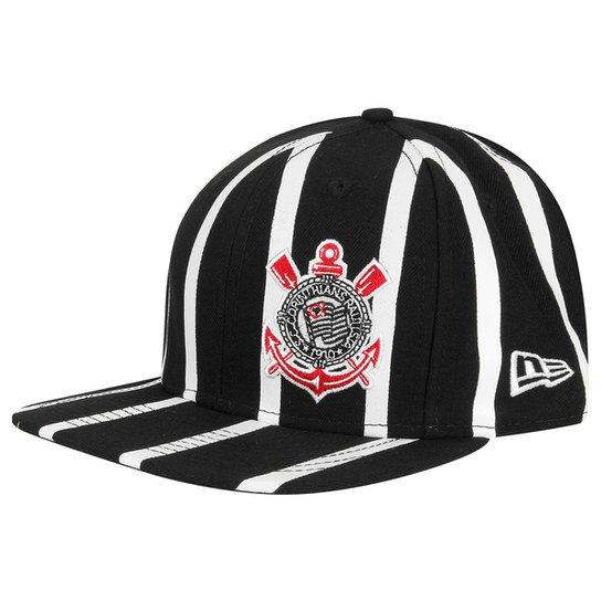 Boné Corinthians New Era Aba Reta 950 Of St Striped Masculino - Preto eb757bb84ac