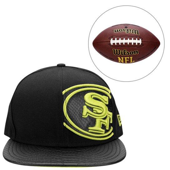 Boné New Era 5950 NFL San Francisco 49ers + Bola WILSON NFL SUPER GRIP -  Preto f5dd8f4404a