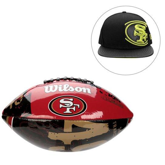Kit Bola de Futebol Americano + Boné NFL San Francisco 49Ers - Preto 8f14f23df4559