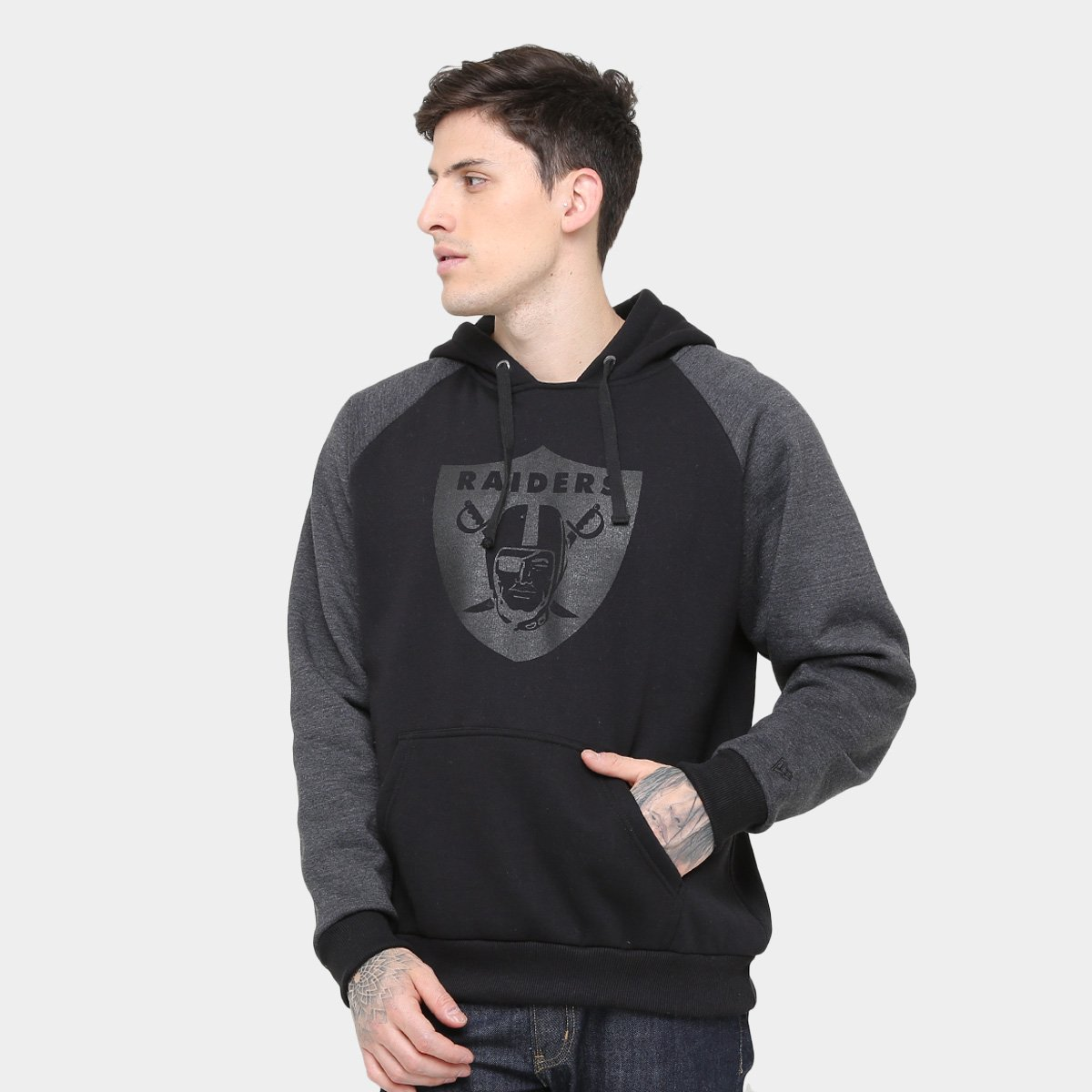 Moletom Oakland Raiders New Era Mescla Raglan Masculino