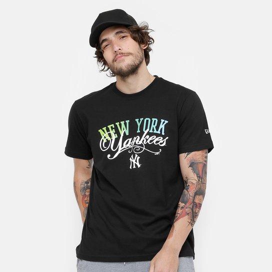 Camiseta MLB New York Yankees New Era Green And Blue Masculina - Preto 4d876a5a813