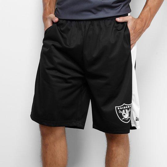 f46309d3f Bermuda NFL Oakland Raiders New Era Recorte Laterial Masculina - Preto