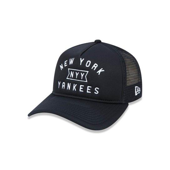 8e6a523b865a0 Boné 940 A-frame New York Yankees MLB Aba Curva New Era - Preto ...