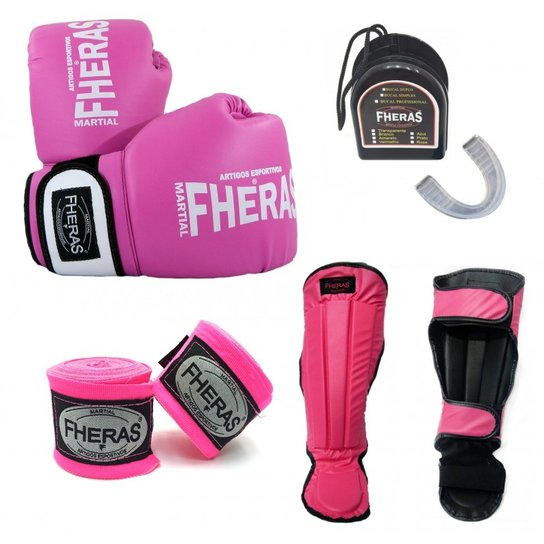 aff485945 Kit Fheras Luva de Boxe   Muay Thai Orion 14 oz + Bandagem + Bucal + ...
