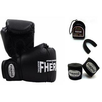 Kit Boxe Muay Thai Fheras - Luva + Bandagem + Bucal -14 OZ 26b462b4889c5
