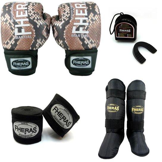 ee5f4fd6d Kit Boxe Muay Thai Top - Luva Bandagem Bucal Caneleira Free Style - Preto