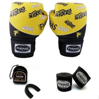 Kit Boxe Muay Thai Top - Luva Bandagem Bucal 1ada79bed3