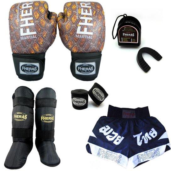 cfc49484a Kit Boxe Muay Thai Fheras Top - Luva Bandagem Bucal Caneleira  Shorts(Fheras) -