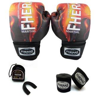 Kit Boxe Muay Thai Top - Luva Bandagem Bucal - 08 oz - dea1cfd9abd6a