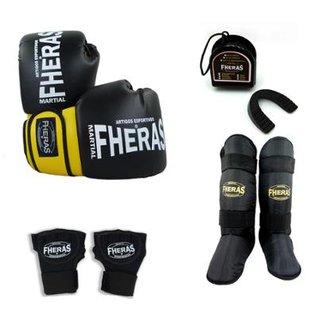 ad20f9dfa Kit Boxe Muay Thai Orion -Luva Bandagem Rápida Bucal Caneleira- 10 OZ