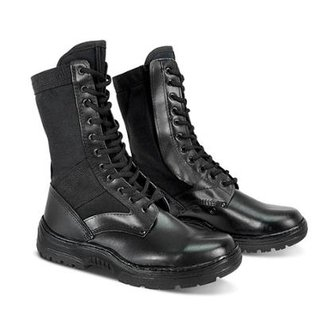 13f68f544e Coturno Segurança Couro Lona Com Ziper Pedigree Militar