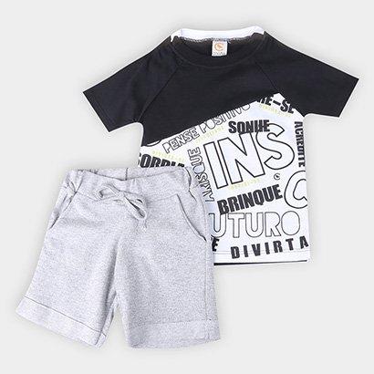 Conjunto Infantil Costão Blusa Sonhe e Bermuda Moletinho Web Masculino