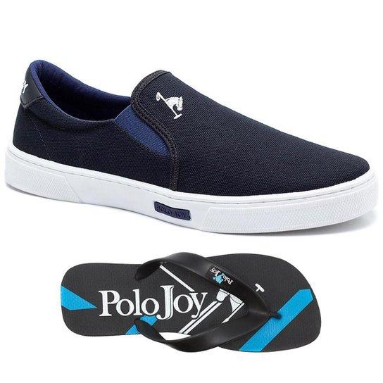 Kit Tênis Iate Lona + Chinelo Polo Joy Masculino - Preto - Compre ... 5323dbc259475