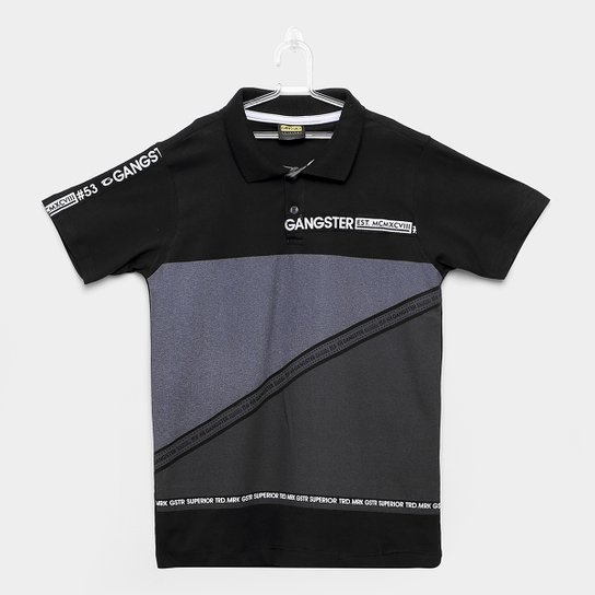 82bc3a678a Camiseta Polo Infantil Estampada Gangster Masculina - Preto - Compre ...