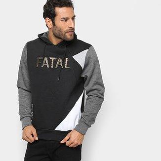 1e562e63f Moletom Fatal Geométrico Logo Capuz Masculino