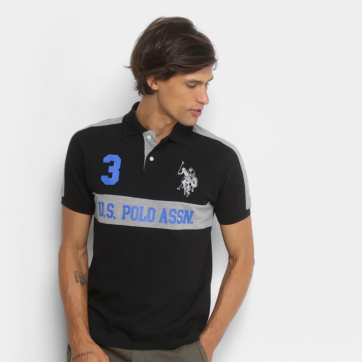 Camisa Polo U.S.Polo Assn Piquet Recorte Masculina ae812ba8afc18