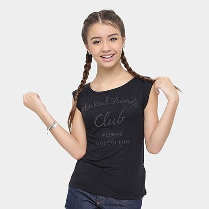 Camiseta Infantil Colcci Fun Aplicação Feminina