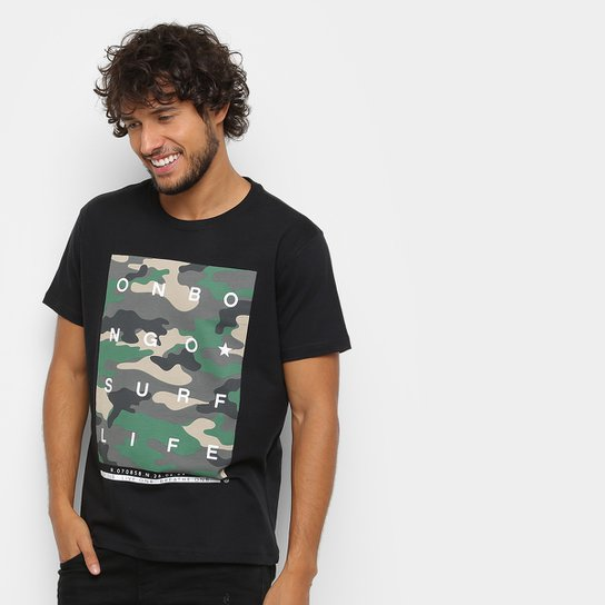 Camiseta Onbongo Camuflado Masculina - Preto - Compre Agora  4bace64dacb57