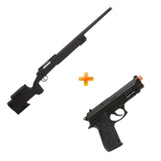 Kit Rifle De Airsoft Spring Sniper M62 Black Double Eagle + Pistola Pt92 Co2 Cybergun