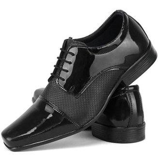 99fcd94f4 Sapato Social Oxford SapatoFran Sintético Verniz Masculino