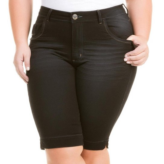 950f498b8 Bermuda Confidencial Extra Plus Size Jeans com Elastano Feminino - Preto