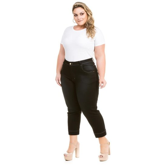 28443f3d9 Calça Confidencial Extra Plus Size Jeans Capri Cetim Feminina - Preto