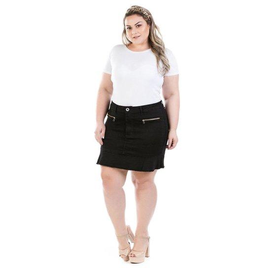 f74fe6e7c Saia Curta Jeans com Babado Preta Plus Size Feminina - Preto | Netshoes