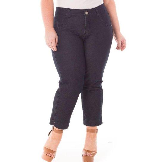 1b03c7583 Calça Feminina Jeans Confidencial Extra Pantacourt com Lycra Plus Size -  Preto