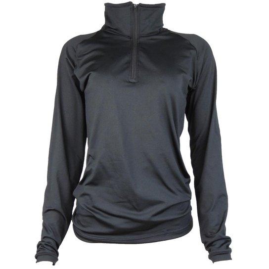 168ac9fe5 Camisa Térmica Feminina Segunda Pele Meio Zíper Thermo Premium - Preto