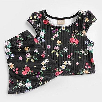 Conjunto Infantil Malha Jacquard com Forro Floral Feminino