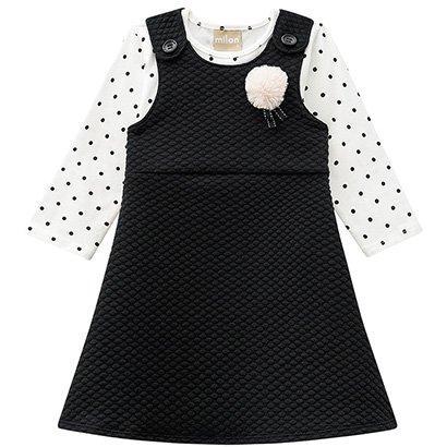 Vestido Infantil Milon Manga Longa Malha Jacquard Pompom