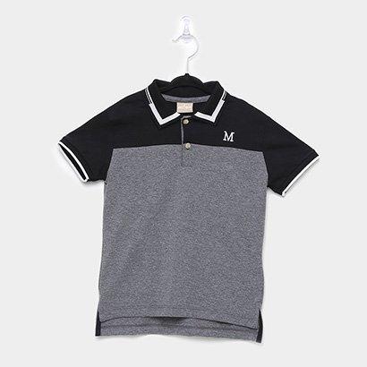 Camisa Polo Infantil Milon Frisos Bordada Masculina