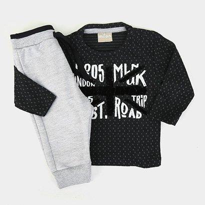 Conjunto Infantil Milon  Camiseta Manga Longa + Calça Moletom Masculino