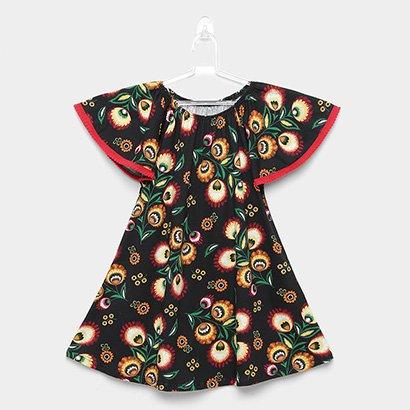 Vestido Infantil Nanai  Pompom Floral